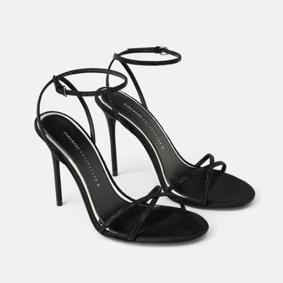 fe81e424bef Zara black beaded high heel sandals